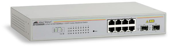 Switch Allied Telesis AT-GS950/8 cu management fara PoE 8x1000Mbps-RJ45 + 2SFP