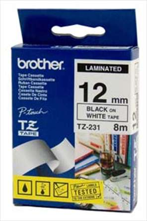 Banda laminata Brother TZ231 8m/12mm negru/alb