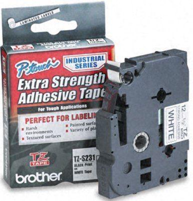 Banda laminata puternic adeziva Brother TZS231 8m/12mm negru/alb