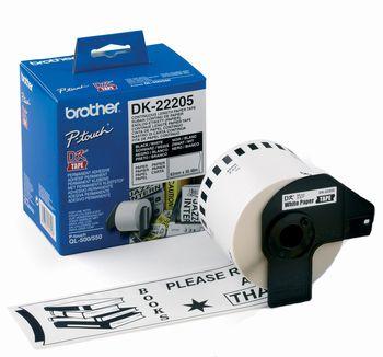 Banda continua de hartie Brother DK22205 62 mm x 30 48 m negru/alb
