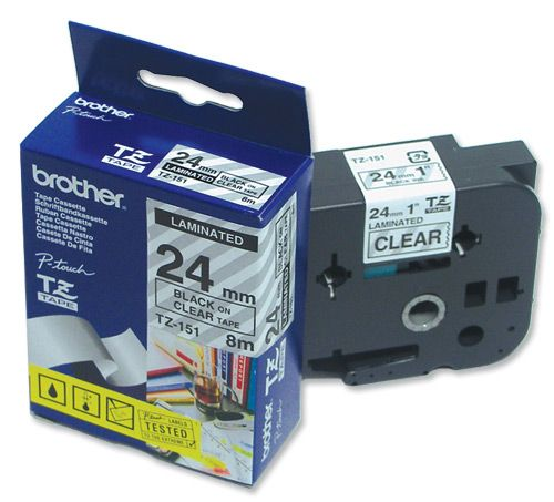 Bandă laminată Brother TZ151 8m/24mm negru/transparent