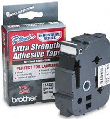 Bandă laminată/puternic adezivă Brother TZS251 8m/24mm negru/alb
