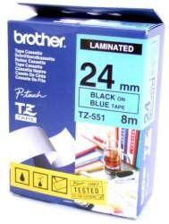 Bandă laminată Brother TZ551 TZ 8m/24mm negru/albastru