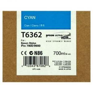 Cartus Inkjet Epson Cyan T636200 UltraChrome HDR 700 ml