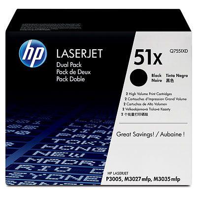 Pachet 2 Cartus Laser HP 51X Black