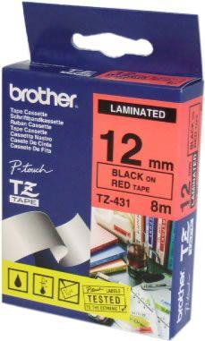 Bandă laminată Brother TZ431 8m/12mm negru/rosu