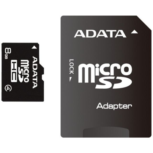 Card de Memorie A-Data microSDHC 8GB Clasa 4 + Adaptor SD