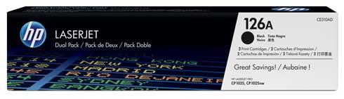 Pachet 2 Cartus Laser HP Black 126A (1.2K)