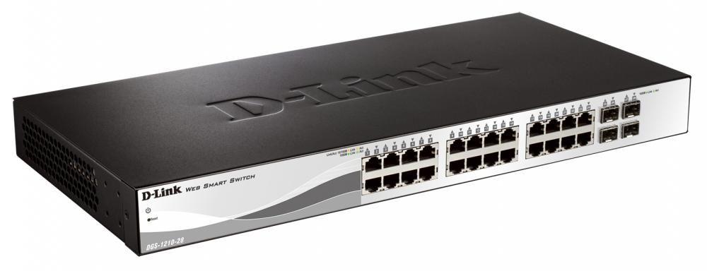 Switch D-Link DGS-1210-28P cu management cu PoE 24x1000Mbps-RJ45 (PoE) + 2xSFP (sau 4x1000Mbps-RJ45)
