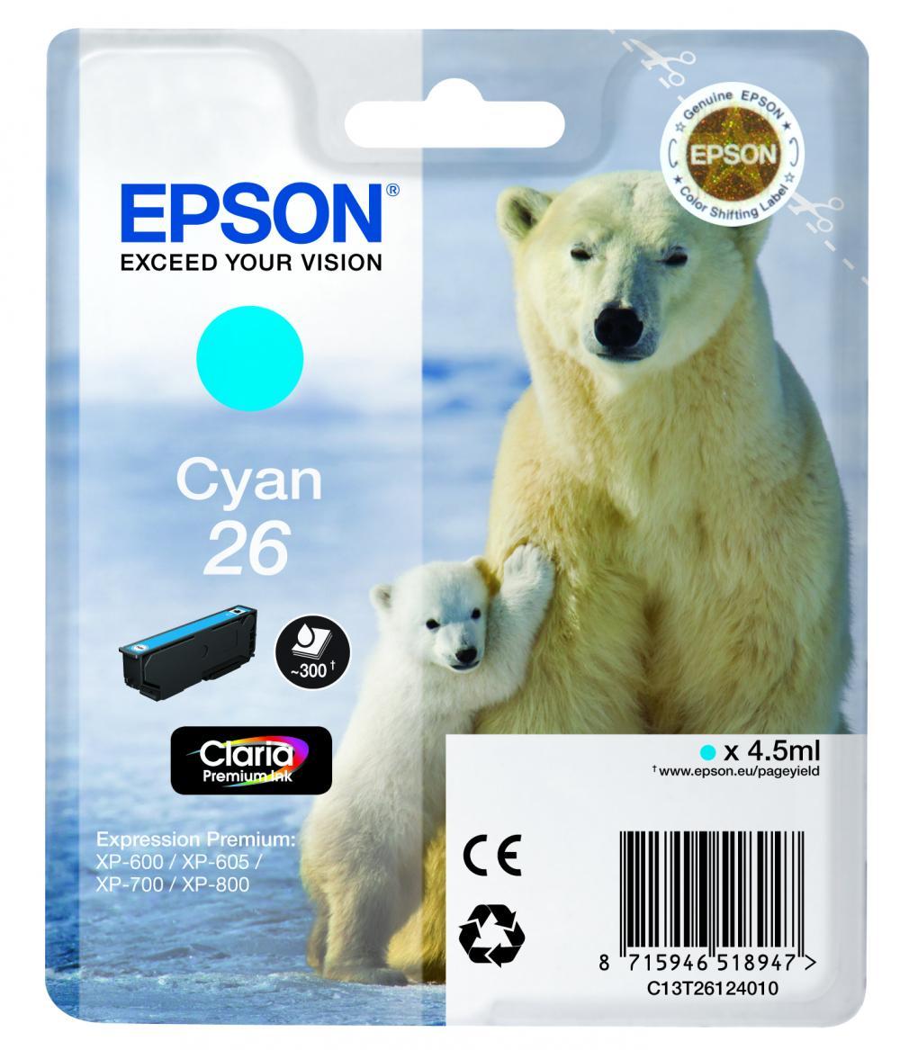 Cartus Inkjet Epson 26 Cyan T26124010