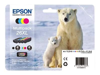 Pachet 4 Cartuse Inkjet Epson 26XL C/M/Y/K T26364010