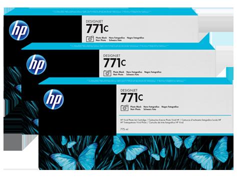 Pachet 3 Cartuse Inkjet HP Chromatic Red 771C