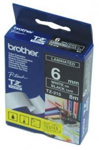 Bandă laminată Brother TZ315 8m/6mm alb/negru