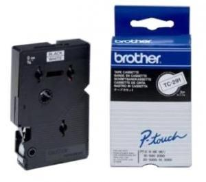 Bandă laminată Brother TC291 5m/9mm negru/alb