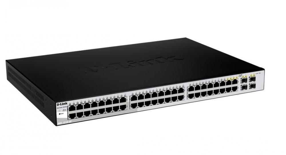 Switch D-Link DGS-1210-48 cu management fara PoE 44x1000Mbps-RJ45 + 4x1000Mbps-RJ45 (sau 4 SFP)
