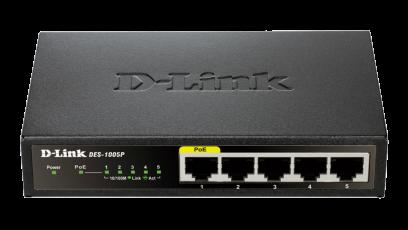 Switch D-Link DES-1005P fara management cu PoE 5x100Mbps-RJ45 (1xPoE+)