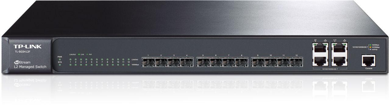 Switch Tp-Link TL-SG5412F cu management fara PoE 12xSFP + 4x1000Mbps-RJ45