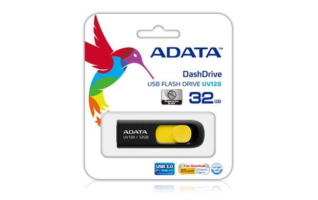 Flash Drive A-Data UV128 32GB USB 3.0 negru si galben