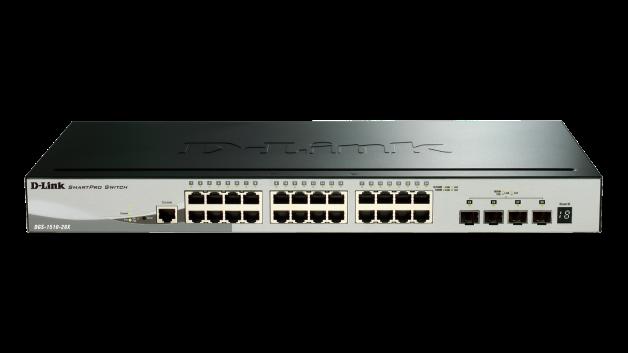 Switch D-Link DGS-1510-28X cu management fara PoE 24x1000Mbps-RJ45 + 4x10GbE SFP