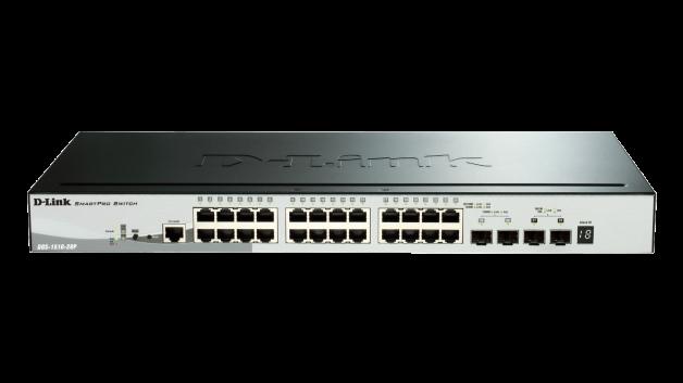 Switch D-Link DGS-1510-28P cu management cu PoE 24x1000Mbps-RJ45 + 2xSFP + 2x10GbE SFP