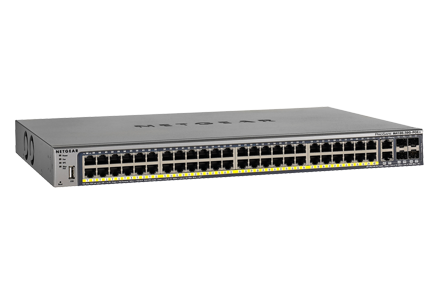 Switch Netgear GSM7248P cu management cu PoE 48x1000Mbps-RJ45 (PoE+) + 2x1000Mbps-RJ45 (sau 4xSFP)