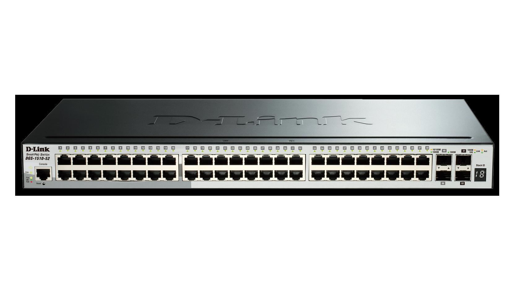 Switch D-Link DGS-1510-52 cu management fara PoE 48x1000Mbps-RJ45 + 2xSFP + 2x10GbE SFP