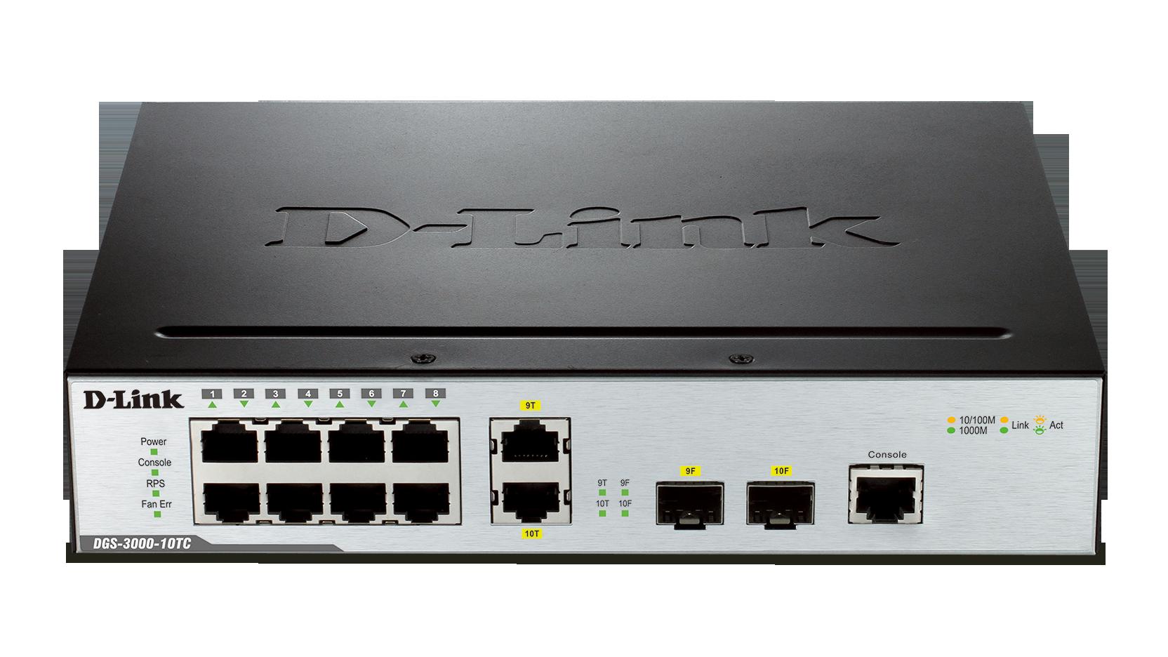 Switch D-Link DGS-3000-10TC cu management fara PoE 8x1000Mbps-RJ45 + 2x1000Mbps-RJ45 (sau 2xSFP)