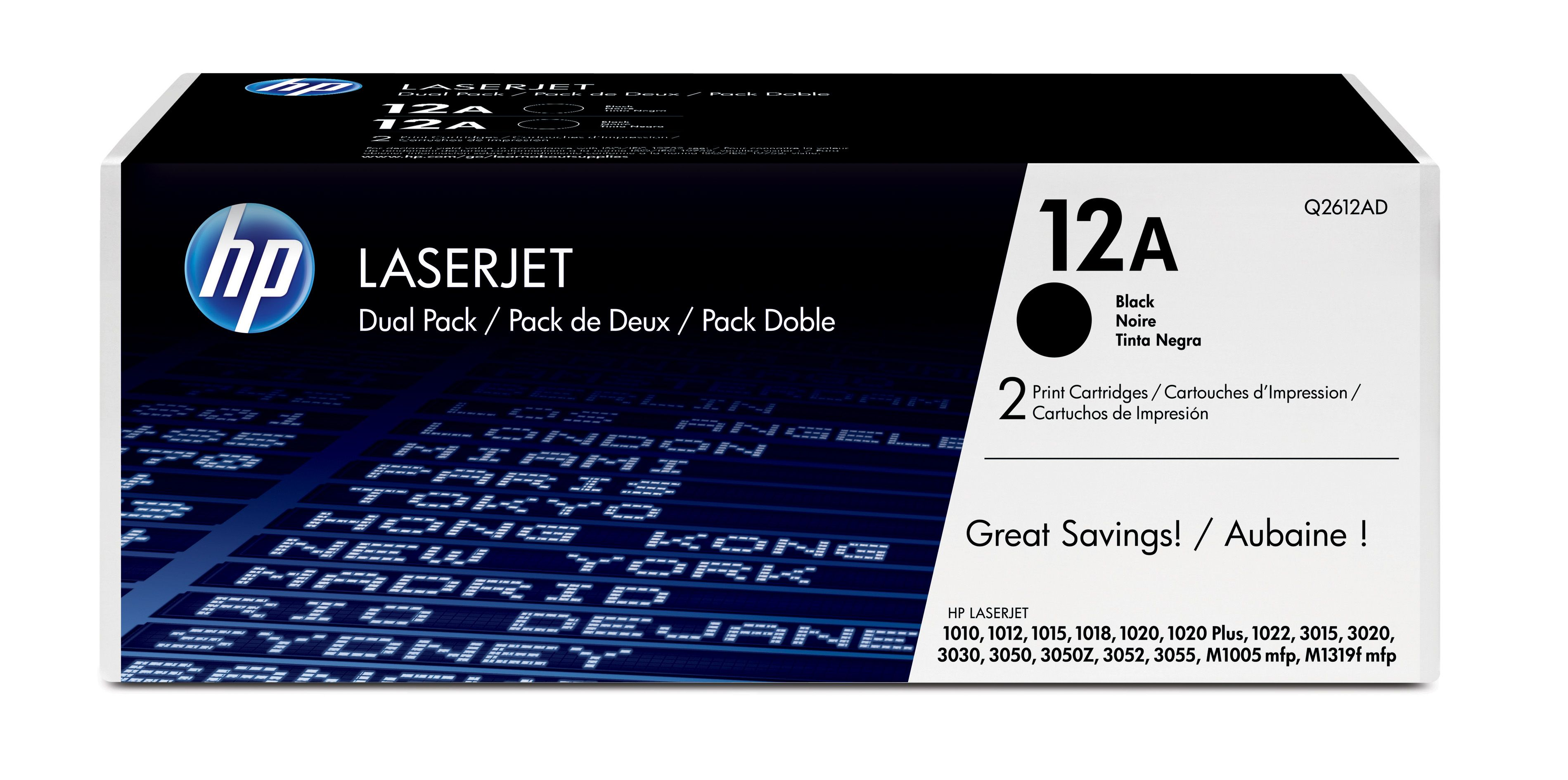 Pachet cartuse Laser HP Black 12A Dual Pack