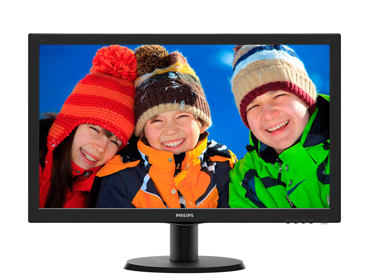 Monitor LED Philips V-Line 243V5LHSB 23.6 1ms 16:9 Full HD VGA DVI-D HDMI Negru