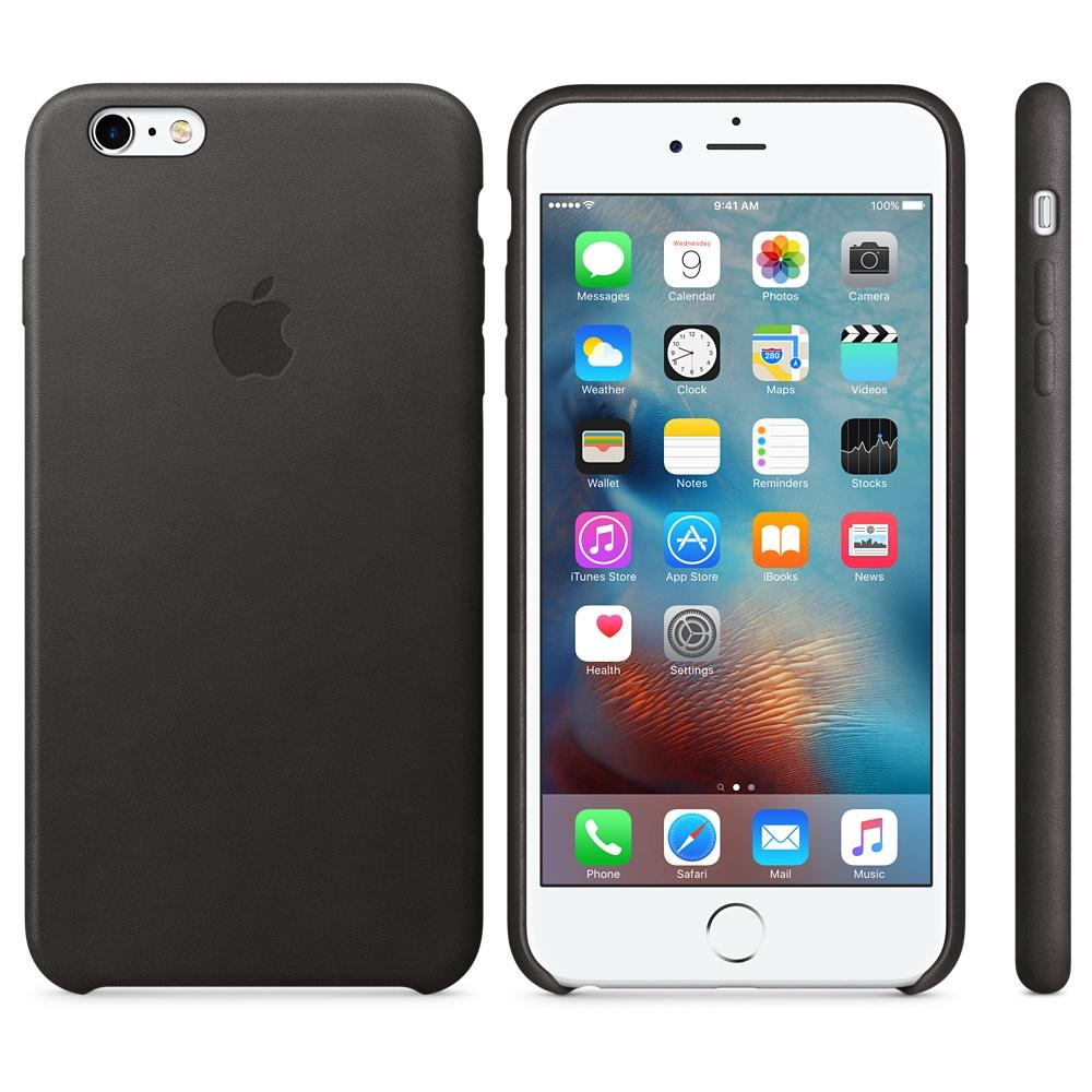 Husa Apple Leather Case pentru iPhone 6s Plus Negru