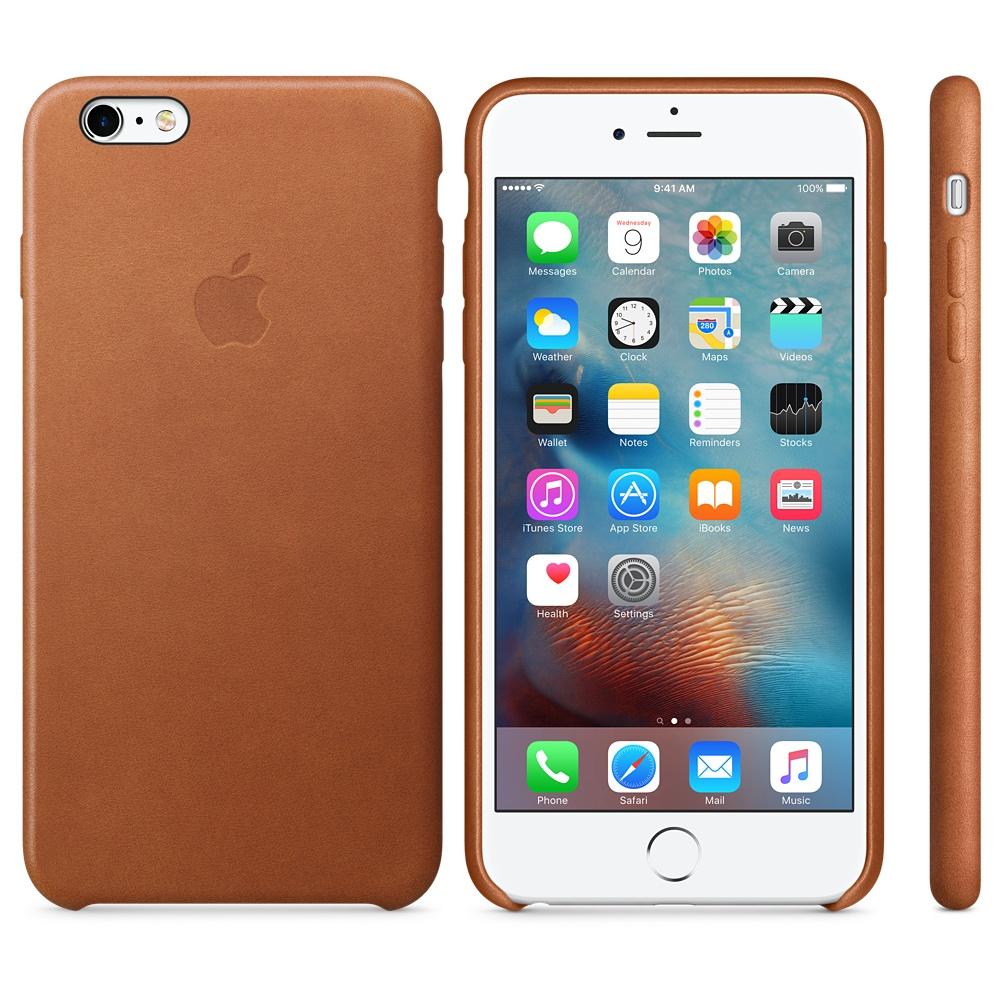 Husa Apple Leather Case pentru iPhone 6s Plus Maron Saddle