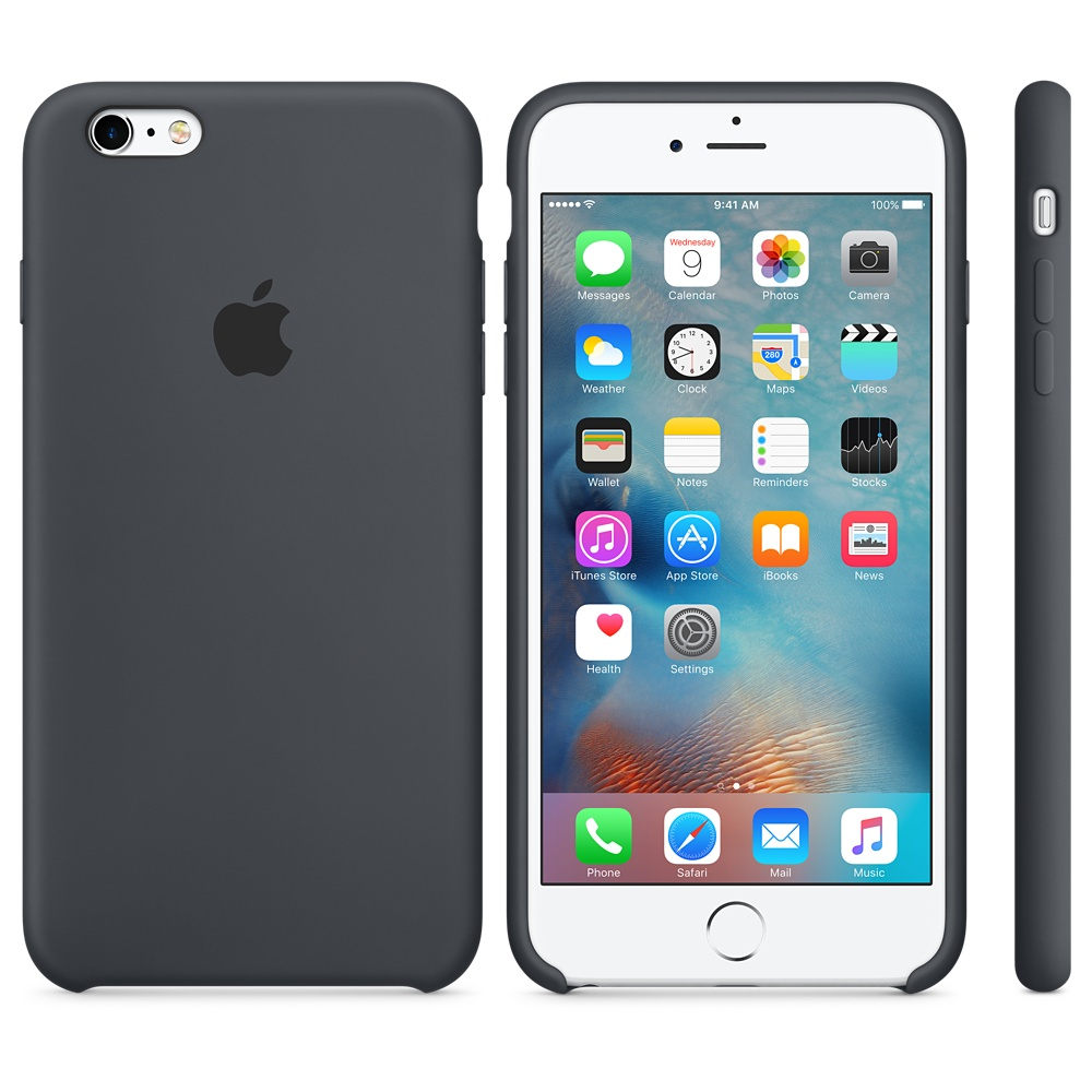 Husa Apple Silicone Case pentru iPhone 6s Plus Gri Charcoal