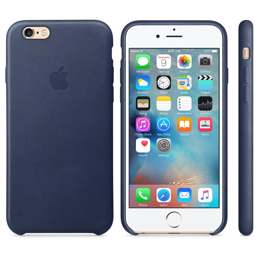 Husa Apple Leather Case pentru iPhone 6s Midnight Blue
