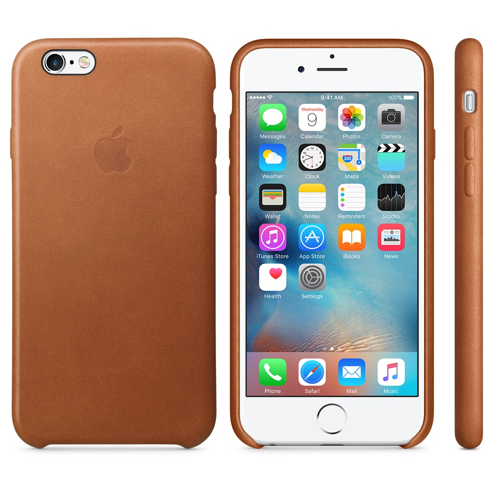 Husa Apple Leather Case pentru iPhone 6s Maron Saddle