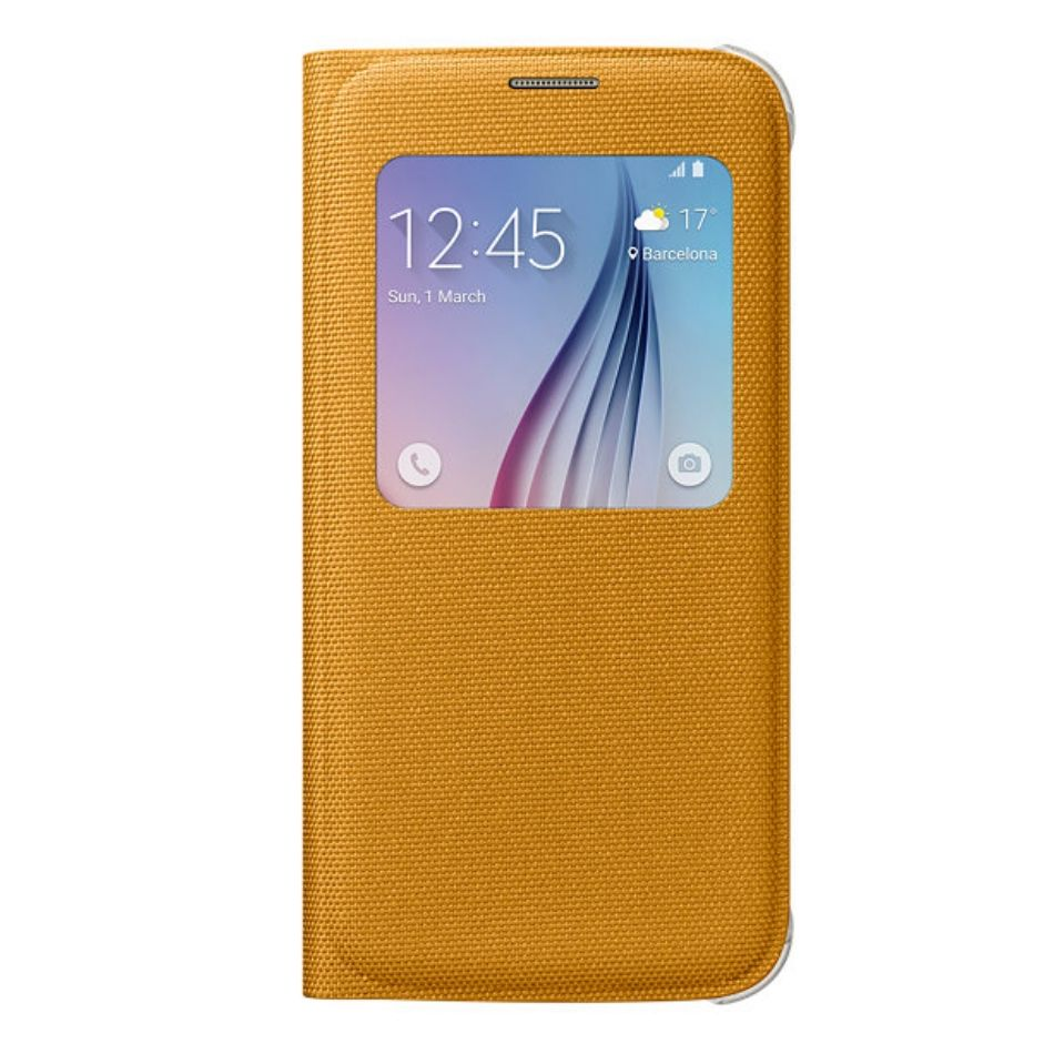 Husa de protectie S-View pentru Galaxy S6 Galben Textil