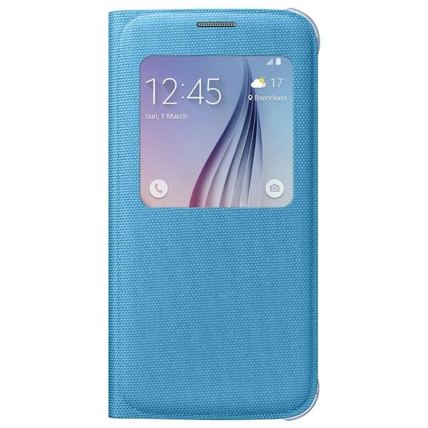 Husa de protectie S-View pentru Galaxy S6 Albastru Textil