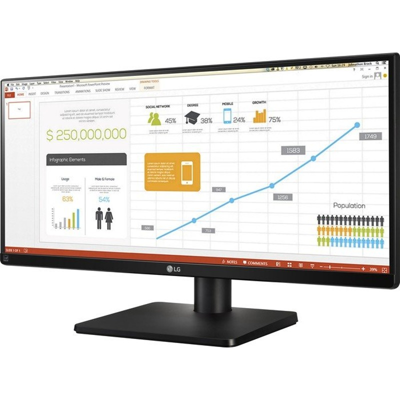 Monitor LED LG 29UB67-B 29 5ms 21:9 HDMI USB DisplayPort DVI Negru