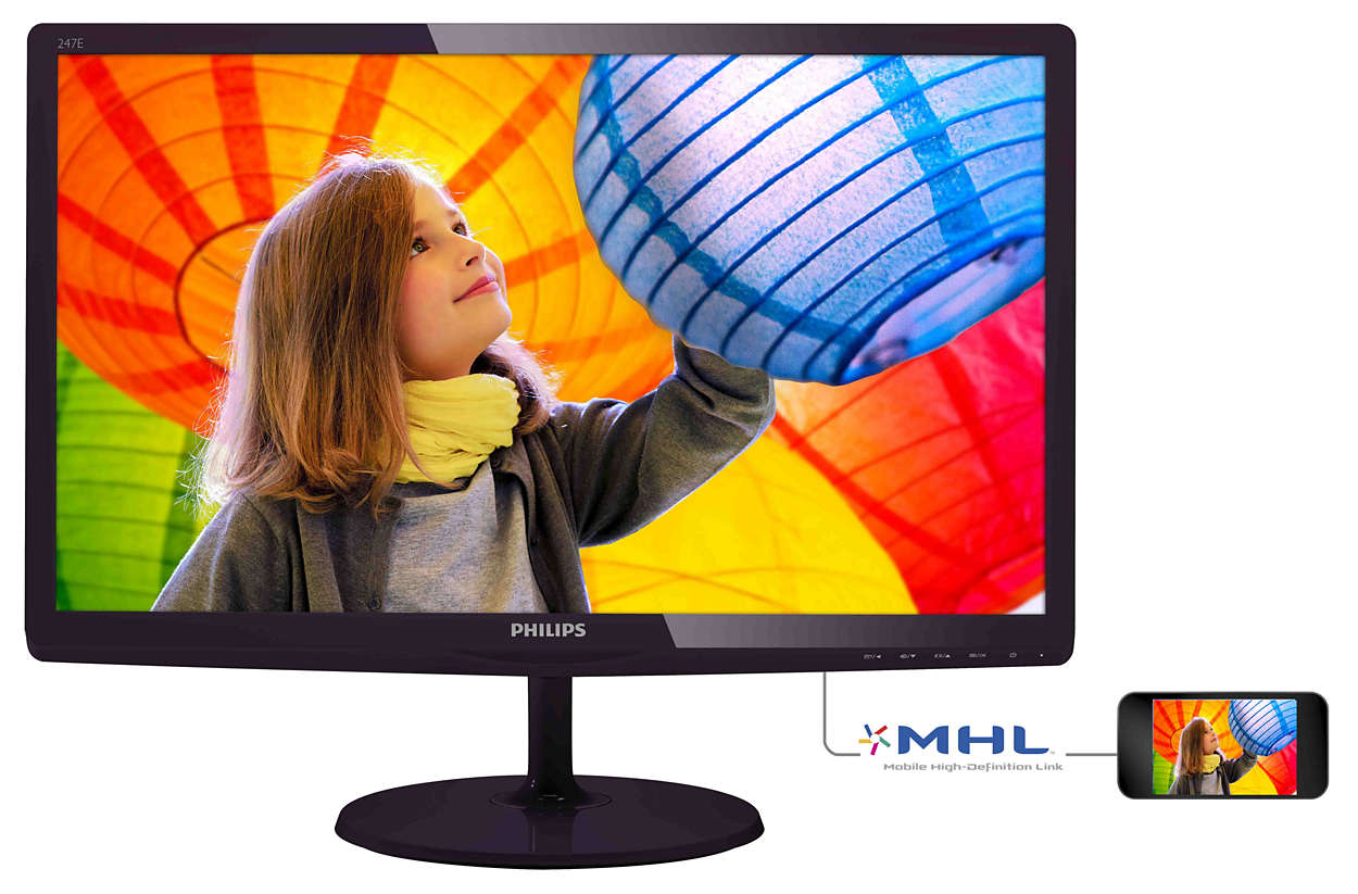 Monitor LED Philips E-Line 247E6QDAD 23.6 5ms 16:9 Full HD HDMI VGA DVI-D Negru