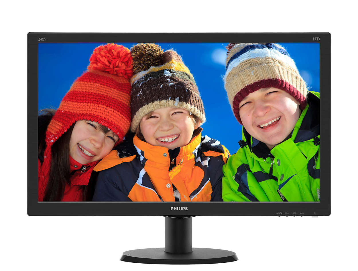 Monitor LED Philips V-Line 240V5QDSB 23.8 16:9 Full HD HDMI DVI VGA Negru