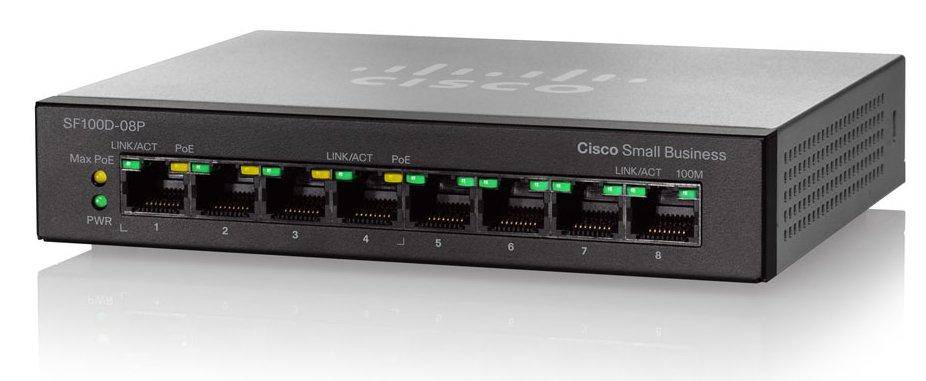Switch Cisco SF110D-08HP fara management cu PoE 8x100Mbps-RJ45 (4xPoE)