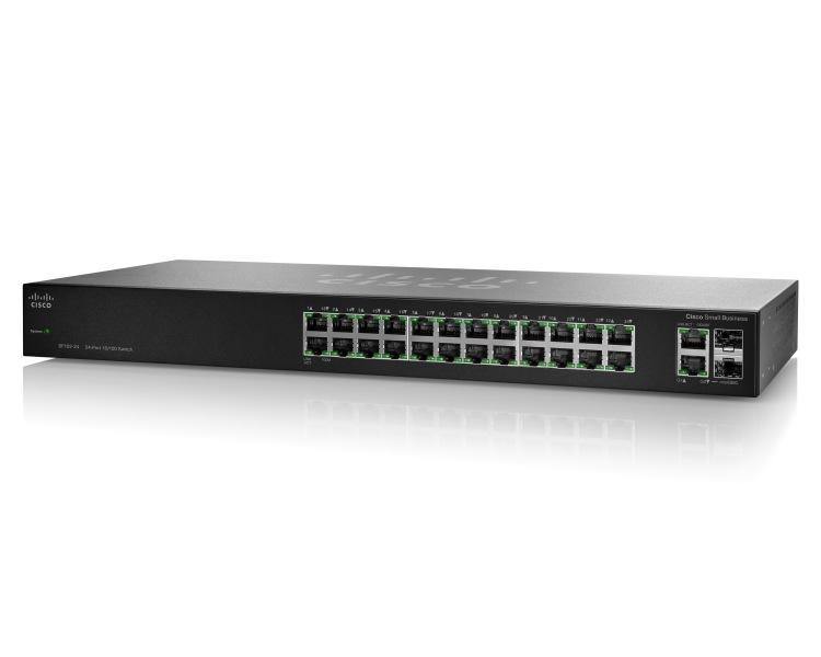 Switch Cisco SF112-24 fara management fara PoE 24x100Mbps-RJ45 + 2x1000Mbps (sau 2xMini-GBIC)