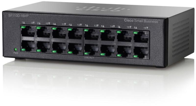 Switch Cisco SF110D-16HP fara management cu PoE 16x100Mbps-RJ45 (8xPoE)