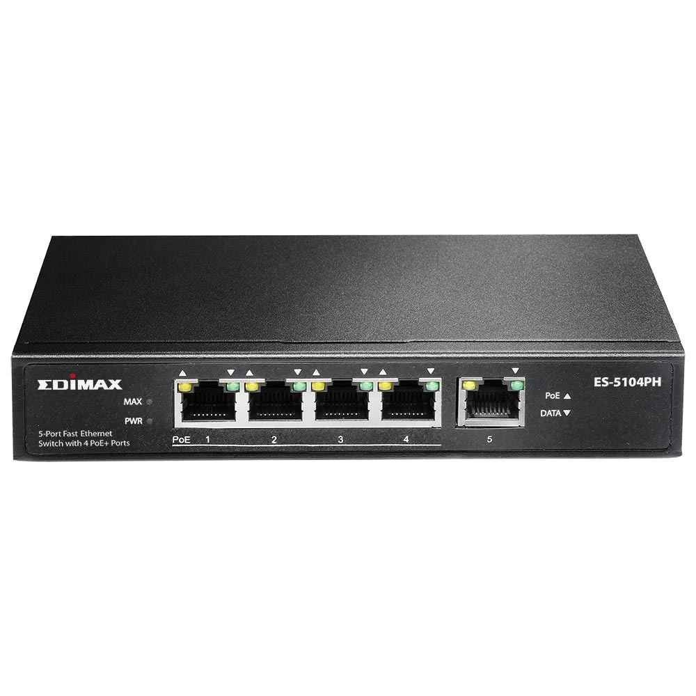 Switch Edimax ES-5104PH fara management cu PoE 5x100Mbps (4xPoE+)