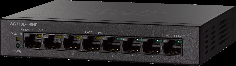 Switch Cisco SG110D-08HP fara management cu PoE 8x1000Mbps-RJ45 (4xPoE)