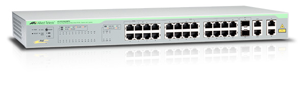 Switch Allied Telesis AT-FS750/28PS cu management cu PoE 24x100Mbps-RJ45 (PoE+) + 2x1000Mbps-RJ45 (sau 2xFP)