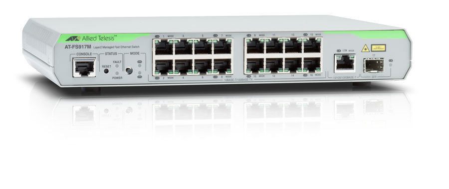 Switch Allied Telesis At-fs917m Cu Management Fara Poe 16x100mbps-rj45 + 1x1000mbps (sau 1xsfp)