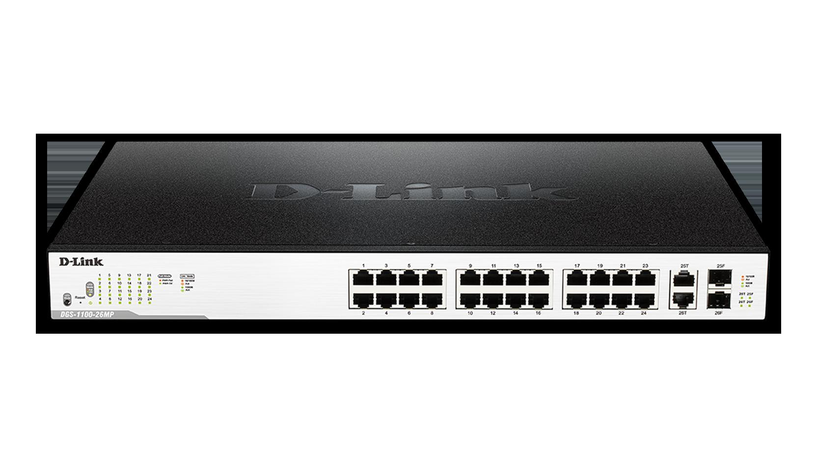Switch D-Link DGS-1100-26MP cu management cu PoE 24x1000Mbps-RJ45 (PoE) + 2x1000Mbps (sau 2xSFP)