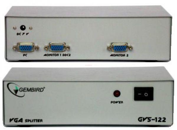 Multiplicator semnal video Gembird GVS122 intrare semnal video: 1xVGA iesirese semnal video: 2xVGA