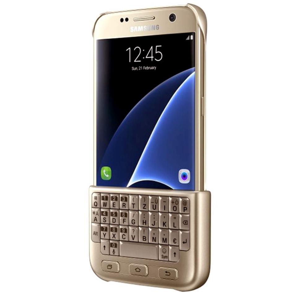 Husa Keyboard Cover pentru Samsung Galaxy S7 G930 Auriu