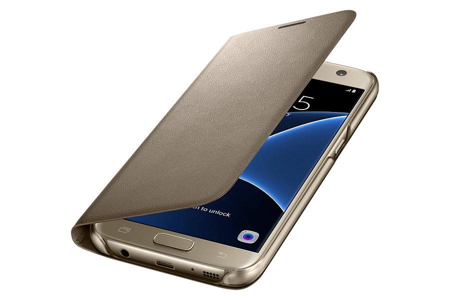 Husa LED View Cover pentru Samsung Galaxy S7 G930 Auriu